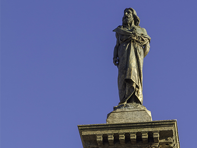 Statue of the martyr and incongruous Tiradentes, in Praça Tiradenets, downtown Ouro Preto, Brazil.