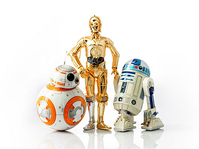 istanbul, Turkey - December 13, 2015: Star Wars droid toys r2d2, c3p0 and bb8 photographed on reflective white background.