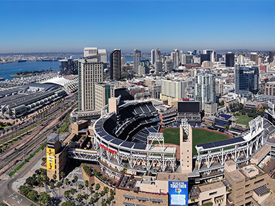 San Diego, California, United States: 11/04/2020 - Downtown, the convention center and the marina in the background